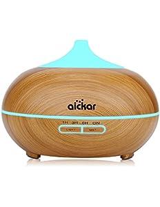 Aickar 300ml Essential Oil Diffuser, Wood Grain Aromatherapy…