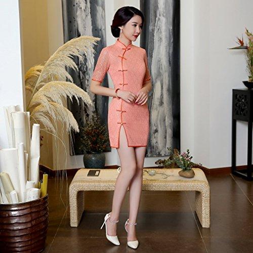cheongsam manga Qipao colores de noche encaje de con rosa Estilo Split Acvip chino 3 corta Short y Vestido Front Mujer ZgZqwO