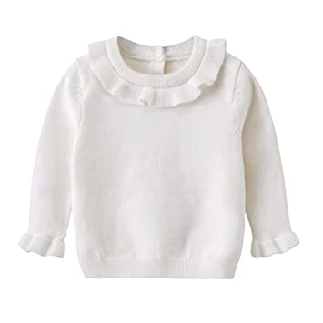 Toddler Baby Girl Pullover Sweaters Cotton Infant Knitted Sweater Ruffle