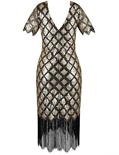 Completo Donne Deco Con Cocktail PrettyGuide 1920s Oro Da Vestito Manica Lustrino wIZxCqS