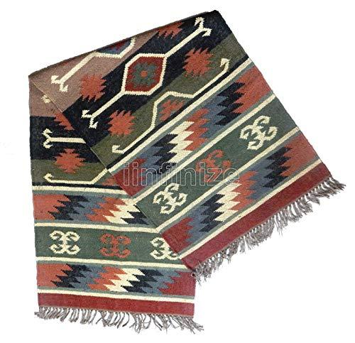 Alfombra de meditación, estilo rústico, estilo indio, 2 x 6 pies (24 x 72 pulgadas), alfombra de yoga, alfombra de lana...