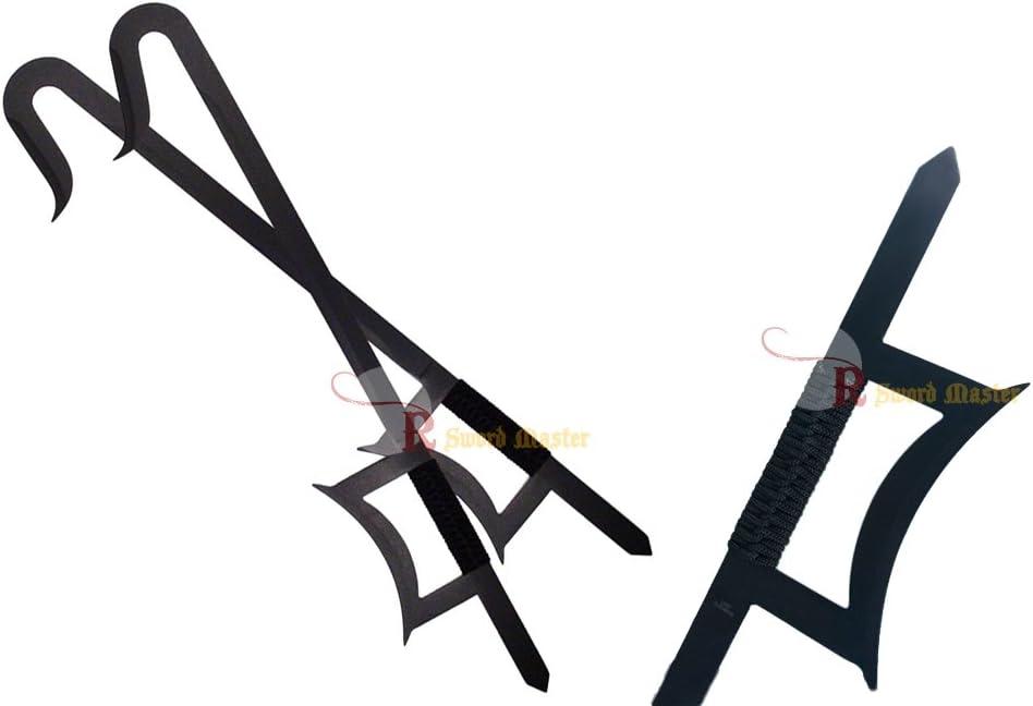 """33/"""" Kung Fu Wu Shu Kabal Black Steel Hook Swords Set Brand New"""