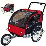 Veelar Children Bicycle Trailer Jogging Stroller Combo 2 in 1 Red/Black 50201。