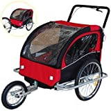 Veelar Children Bicycle Trailer Jogging Stroller Combo 2 in 1 Red/Black 50201。