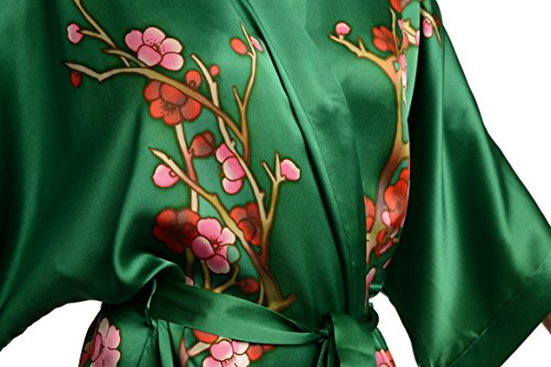 Green With Sakura Bloom Luxurious Silk Dressing Gown Robe Verde Vestaglia  Taglia Unica 165 cm Outlet Nuovo