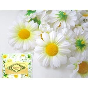 "(24) Silk White Gerbera Daisy Flower Heads , Gerber Daisies - 1.75"" - Artificial Flowers Heads Fabric Floral Supplies Wholesale Lot for Wedding Flowers Accessories Make Bridal Hair Clips Headbands Dress 116"