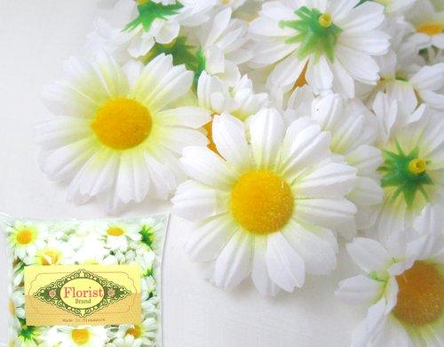 (24) Silk White Gerbera Daisy Flower Heads , Gerber Daisies - 1.75