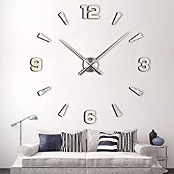 Timelike 3D DIY Wall Clock, 1M Modern Frameless Large 3D DIY Wall Clock Kit Decoration Home for Living Room Bedroom (Silver)
