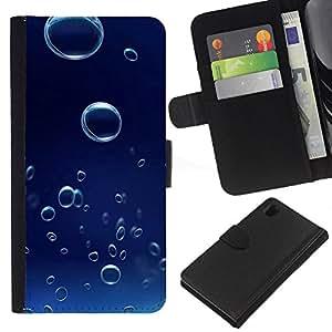 Ihec-Tech / Flip PU Cuero Cover Case para Sony Xperia Z1 L39H - Blue Water Drop 6