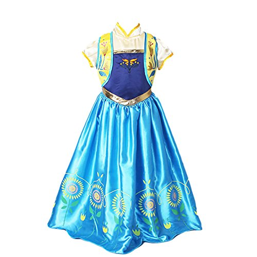 [[GRACES]Snow Frozen Queen Costume Princess Cosplay Party Dress (S, Blue Green)] (Kristoff Costume For Boy)