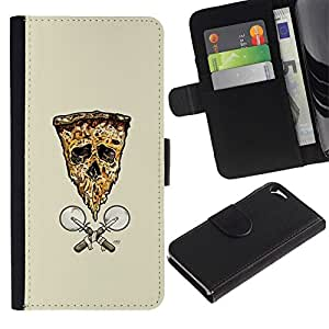 NEECELL GIFT forCITY // Billetera de cuero Caso Cubierta de protección Carcasa / Leather Wallet Case for Apple Iphone 5 / 5S // Pizza de la bandera del cráneo de