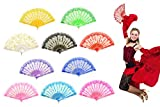 OMyTea''Rose Lace'' Folding Hand Held Fans Bulk for Women - Spanish/Chinese/Japanese Vintage Retro Fabric Fans for Wedding, Church, Party, Gifts (Mixed Colors, 10pcs)