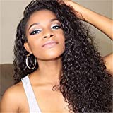 Curly Lace Front Wig Human Hair Brazilian Kinky Curly Wig Front Wig Gluess Virgin Human Hair Black (Black)