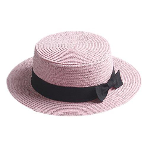 Elee Fashion Women Men Summer Straw Boater Hat Boonie Hats Beach Sunhat Bowler Caps (Pale Pink) - Pale Straw