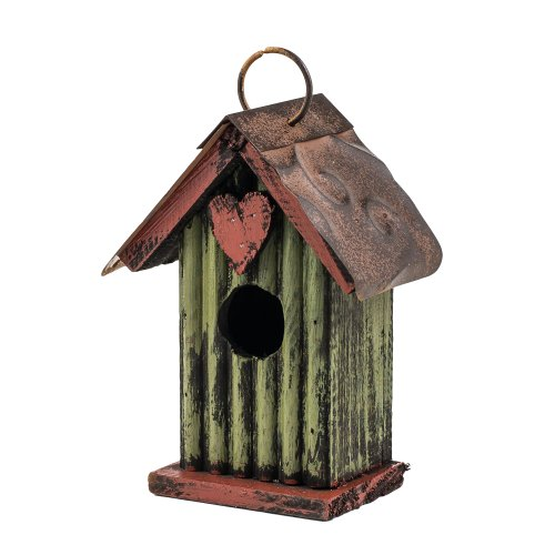 6.5'' Green with Heart Hanging Rustic Style Birdhouse by Carson