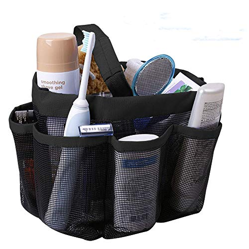 Mesh Shower Caddy, Quick Dry Shower Tote Bag with 8 Storage Compartments Oxford Hanging Shower Tote Caddy Toiletry and Bath Organizer for Shampoo,Soap,and Other Bathroom Accessories (Black) by CooZero