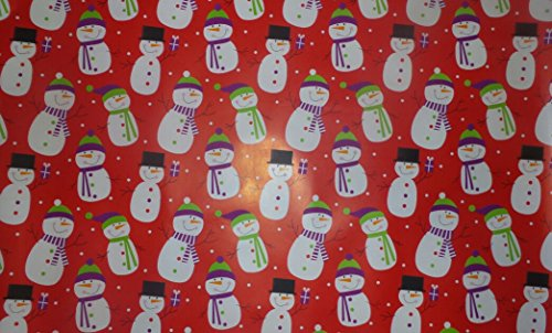 Trim A Home Festive Christmas Wrapping Paper 12 YD x 2.5 FT. 90 SQ FT. 1 Roll Red Paper with Assorted Snowmen Christmas Wrapping Paper