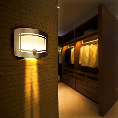 LWYJRBD Wandleuchte Wandlampe Drahtlose Infrarot Bewegungsmelder LED Nachtlicht Batteriebetriebene Sensor LED Wandleuchte Wand Pfad Wäsche Treppensensor Lampe, Weiß