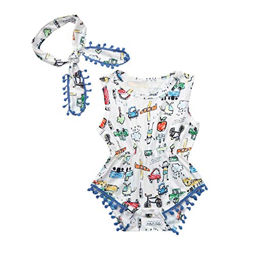 2PCS/Set Infant Kids Baby Girls Sleeveless 100% Cotton Romper Feather -