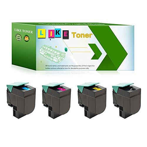 LikeToner 4 Pack of Set (1 Black, 1 Cyan, 1 Magenta, 1 Yellow) Compatible for Lexmark C544dn C544n X544dn X544n Toner Cartridge, [C540X2KG, C540H2CG, C540X2MG, C540X2YG] Color Toner Cartridge