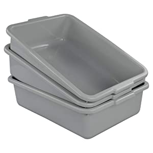 Ucake Plastic Bus Tub Shallow Plastic Tub Utility Bus Dish Pan, Light Grey, 3 Packs