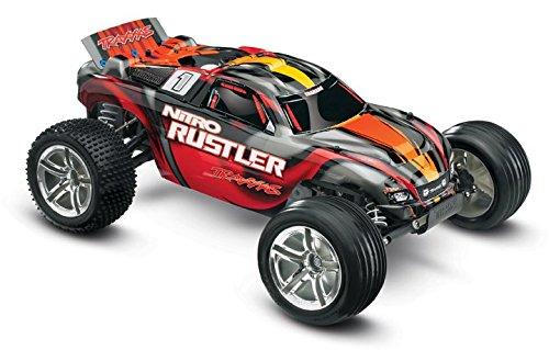 Nitro Gas Powered Buggy - Traxxas Nitro Rustler: 2WD Stadium Truck with TQi 2.4 GHz Radio & TSM (1/10 Scale), Red