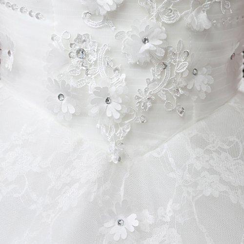 Herz Linie Spitze Mit Dearta Kristall Damen Bodenlang A Weiß Applikation Brautkleider Ausschnitt Kleidungen Prinzessin qtxX8wHx