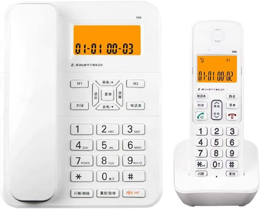 Doble Teléfono inalámbrico inalámbrico Teléfono Fijo Oficina Hotel Hotel Teléfono Fijo Hogar inalámbrico Oficina Teléfono Línea Fija Negro/Blanco (Color : Blanco): Amazon.es: Hogar