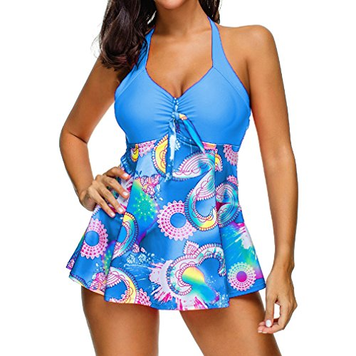 da Bagno Set Tankini bagno Prospettiva multicolore 5XL Beachwear S Boyshort Blu gonna Moda pezzi Swimwear Donna Set Da con Costumi Bikini Costume con due Junkai Stampa A7wpqw