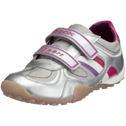 geox Toddler Jr Snake Girl Fashion Sneaker,Silver/Fucshia,34 EU (3 M US Little Kid) -