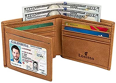 Men's Trifold Wallet - RFID Blocking Cowhide Leather Vintage Travel Wallet