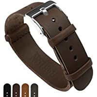 BARTON Leather NATO Style Watch Straps - Choose Color Length & Width - Saddle Brown 22mm Standard Band