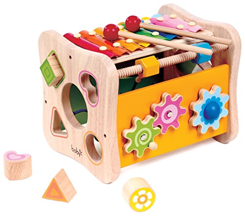 8 in 1 Activity Cube - Shape Sorting, Xylophone, Gears, Peg Maze and More by Kids (1 Learning Activity Cube)