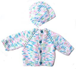 KSS Handmade Soft Pastel Cardigan and Cap Newborn - 3 Months