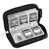 Memory Card Carrying Case /Black/Wallet/Organizer/Bag- Suitable for Storage SD Micro SD CF SDXC SDHC MMC Trail Camera Memory Cards /1PC Microfiber Cleaning Cloth Sticker Included(22 slots)