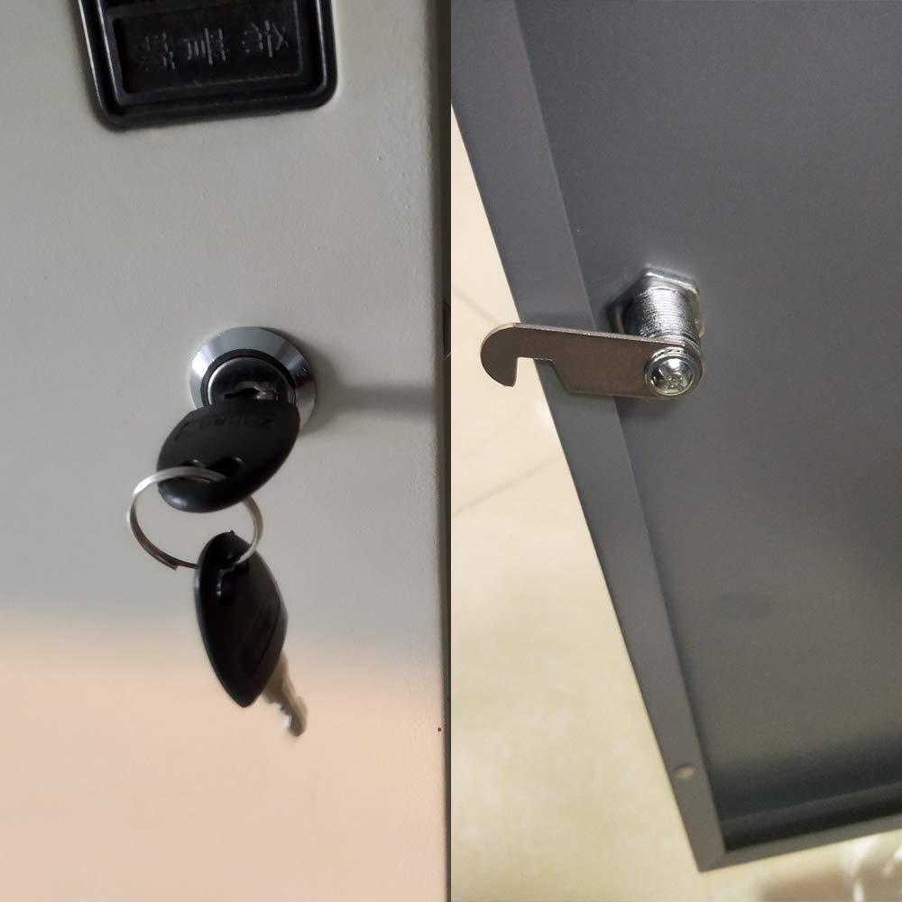 SPTwj Cerradura de seguridad para buz/ón 4 unidades, 20 mm de longitud, aleaci/ón de zinc, cierre de caj/ón, color plateado cada cerradura tiene las mismas llaves