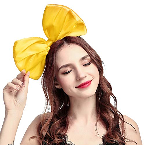 ZTL Women Huge Bow Headband Hairband Hair Hoop Costume Accessories Party Props (Yellow)