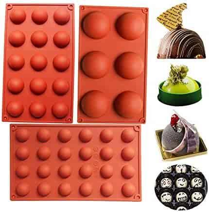 BAKER DEPOT Bakeware Set Silicone Mold for Cake Decoration Jelly Pudding Candy Chocolate 6 Holes Semicircle 15 Holes Semicircle 24 Holes Semicircle Each Design 1pc Brown Color Set of 3