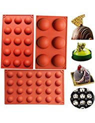 BAKER DEPOT Bakeware Set Silicone Mold for Cake Decoration Jelly Pudding Candy Chocolate 6 Holes semicircle 15 Holes semicircle 24 Holes semicircle Each Design 1pc Brown Color, Set of 3
