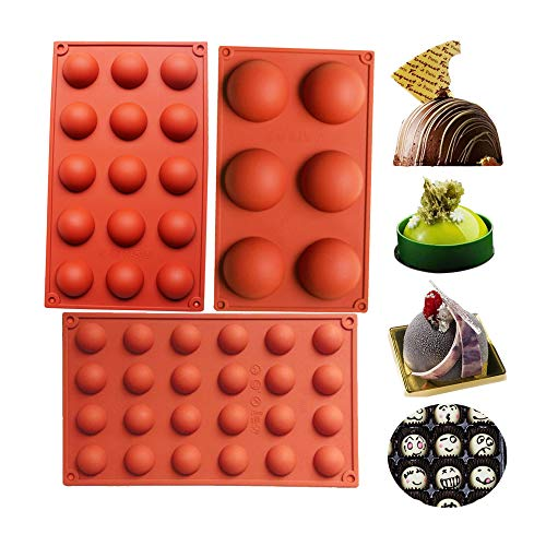 BAKER DEPOT Bakeware Set Silicone Mold for Cake Decoration Jelly Pudding Candy Chocolate 6 Holes Semicircle 15 Holes Semicircle 24 Holes Semicircle Each Design 1pc Brown Color Set of 3]()