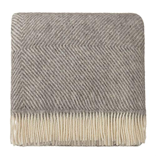 Merino Wool Throw Blanket - URBANARA 100% Pure Scandinavian Wool Throw Gotland 55x87 Grey/Cream with Fringe - Virgin Wool Blanket with Decorative Diamond Weave Design - Perfect for Your Couch, Sofa, Bedroom, Twin Size Bed