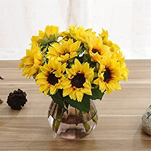 Crt Gucy 6 Pcs Artificial Sunflowers Bouquet For Home Hotel Office Decoration 3