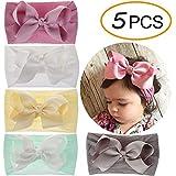 EMPHY 5Pcs Stretchy Nylon Bows Headbands for Baby Girl Soft Knots Infant Toddler Headband (5Pcs-BNH02)