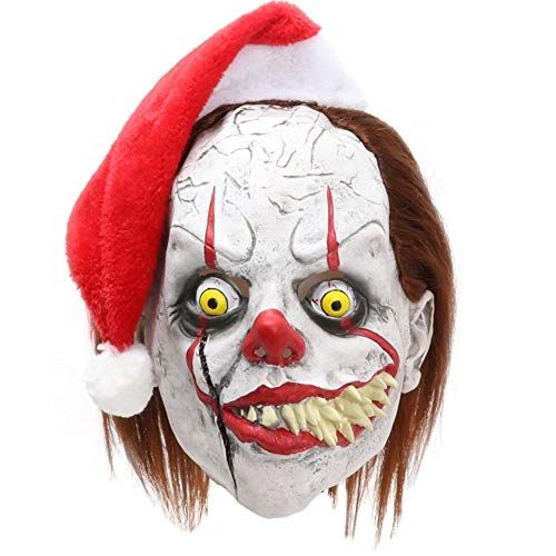 Halloween Exposed Teeth (Adult Clown Mask with Hair and Exposed Teeth for Halloween Costume, Cosplay, Easter, Theme)