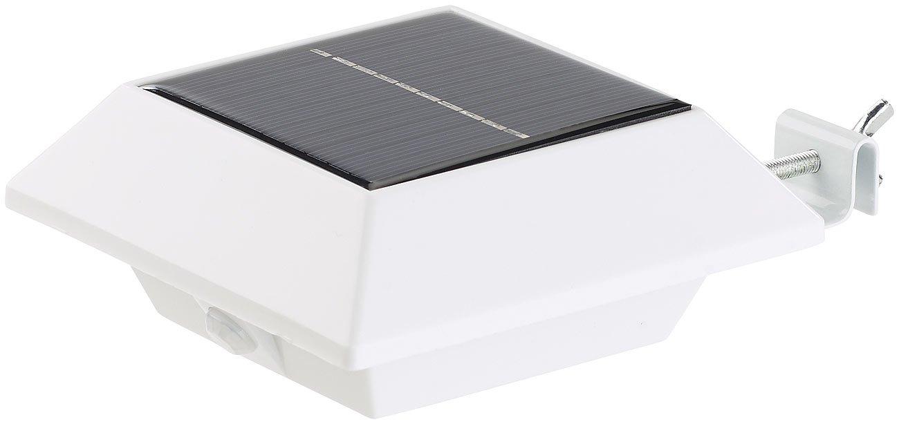 Lunartec - Lámpara LED solar de canalones con sensor PIR, 160 lm, 2 W, IP44, color blanco: Amazon.es: Iluminación