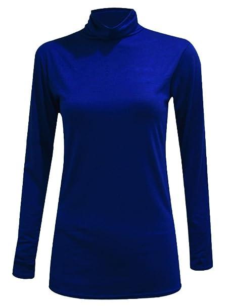 Jersey de cuello alto y manga larga para mujer, material elástico ...