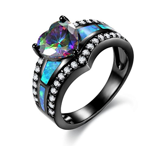 SiBeXu Heart Shaped 18K Black Gold Plated Inlay Opal Cubic Zircon Engagement for Women&Girls (8) ()