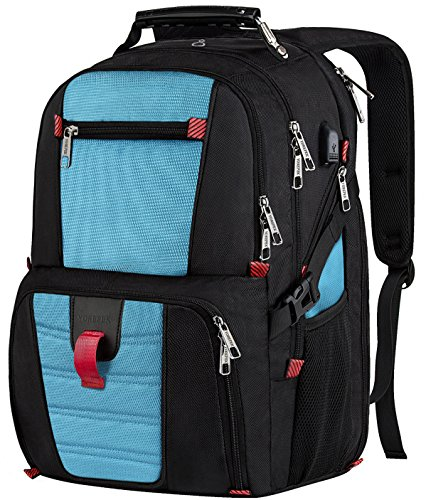 Extra Large Backpack, Durable Lightweight Travel Laptop Bag with Computer Compartment and Usb Charging Port/Headphone Hole,TSA Friendly Business Backpacks for Men & Women Holds 17 inch Laptops,Blue … - Extra Small Design