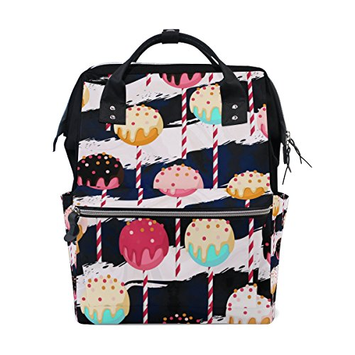 My Little Nest Large Capacity Baby Diaper Bag Lollipop Stripes Durable Canvas Multi Function Travel Backpack for Mom Girls (Diaper Lollipop)