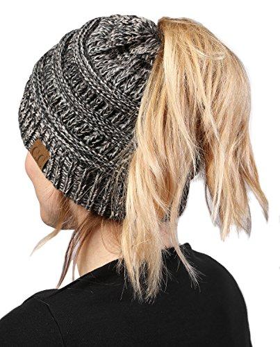 BT-6800-816 21 Messy Bun Womens Winter Knit Hat Beanie Tail - Grey/Black#31